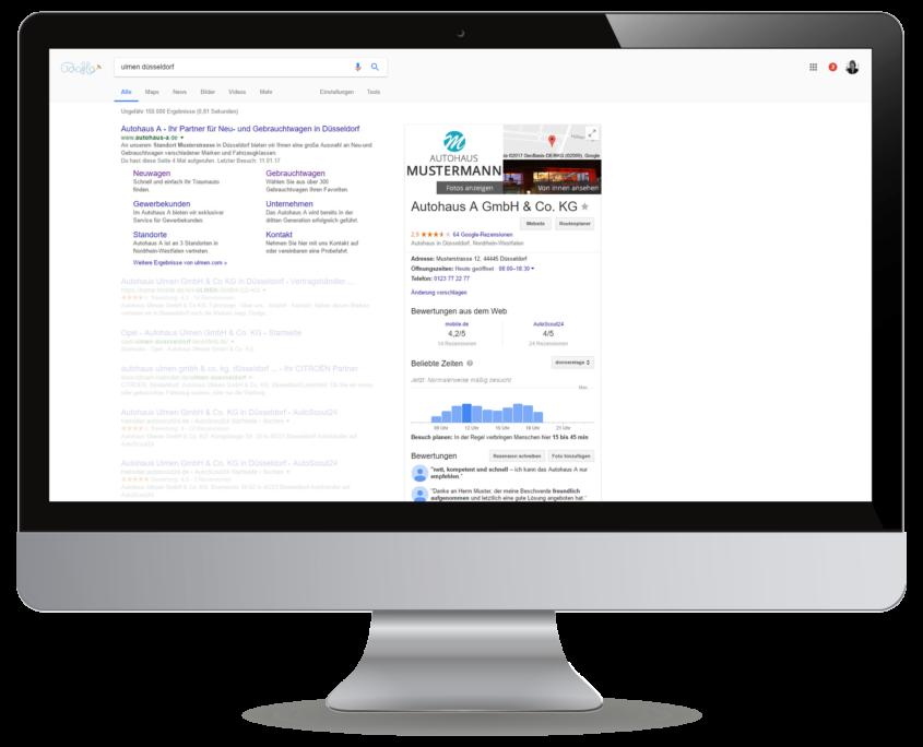 Google MyBusiness und AdWords Anzeige in den Suchergebnissen
